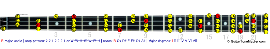 B major bass scale