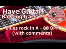 Embedded thumbnail for Guitar Backing Track in A - Blues rock in 80 BPM (commented)