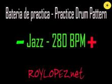 Embedded thumbnail for Bateria de practica / Practice Drum Pattern - Jazz - 280 BPM
