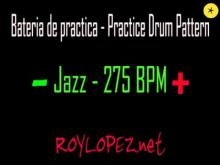 Embedded thumbnail for Bateria de practica / Practice Drum Pattern - Jazz - 275 BPM